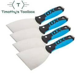 """Ox Pro 4"""" Flexible Stainless Steel Drywall Putty Joint Knife Pack Of 4"""