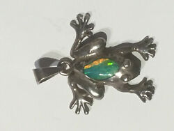 Cute Sterling Silver And Faux Opal Frog Pendant