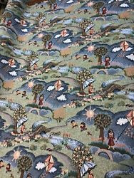 Green Brown Children Kites Tapestry Upholstery Fabric by the yard