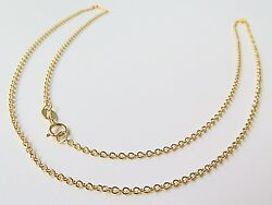 J.lee 18k Yellow Gold Necklace - 1.1mm O Rolo Link Chain Necklace 16.5inch Au750