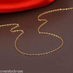 J.lee 16inch Solid 18k Yellow Gold Necklace 1.1mm O Link Chain Au750
