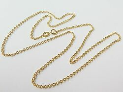 J.lee Au750 18k Yellow Gold Necklace - 1.1mm O Rolo Link Chain 19.7inch