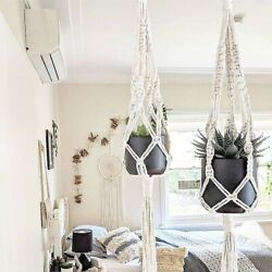 Macrame Plant Hanger - Natural - Small, Large Or Duo - Handmade