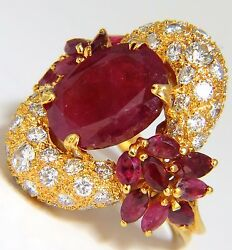11.00ct Natural Oval Red Ruby Diamonds Cocktail Ring 14kt