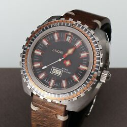 Vintage Enicar Sherpa Star Diver Automatic Saw Bezel Diver Watch Stainless 44mm