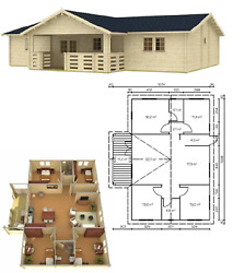 1247 sq ft 7 room DIY Log Cabin Home building Kit with 118 sq ft covered porch