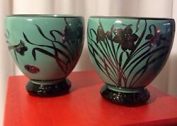 Art Nouveau Cambridge 1895-1920s Sterling Silver Overlay 2 Teal Glass Bowls