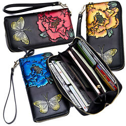 Women#x27;s RFID Block Genuine Leather Buttefly Flower Large Capacity Clutch Wallet $19.95