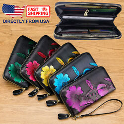 Women#x27;s RFID Block Genuine Leather Floral Print Large Capacity Clutch Wallet $19.95