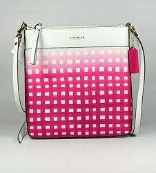 Coach Women Crossbody Bag Ombre Gingham Print Saffiano Leather Swingpack