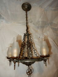 Cast Iron Spanish Revival Arts And Crafts Chandelier Hammered Fixture