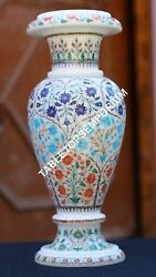 12 Marble Flower Vase Mosaic Multi Inlay Floral Arts Occasion Gift Decor H1957