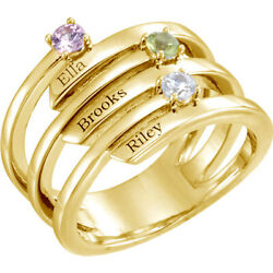 10k Or 14k Solid Gold Motherand039s Ring 1 To 3 Birthstones Childrenand039s Names Engraved
