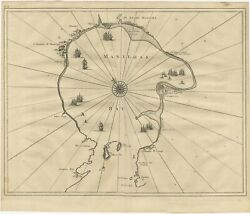 Antique Map Of Manila Bay By Valentijn 1726