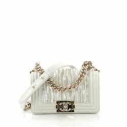 Chanel Boy Flap Bag Sequin and Pearl Embellished Leather Small