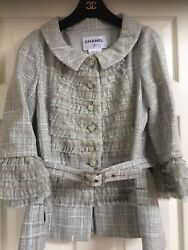CHANEL 13C NEW AMAZING TWEED LACE RAFFLED Jacket BELT CC buttons FR40-FR38 $15K