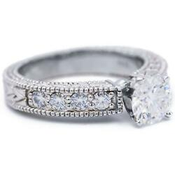 6.5mm Round Moissanite Vintage Milgrain And Etched Shank Engagement Ring And Wed