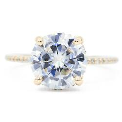 8mm Round Moissanite 14k Yellow Gold Diamond Upper Gallery And Shoulder Ring