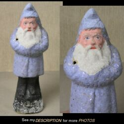 Antique 1890-1910 German 8-1/4 Belsnickle Santa Claus Blue With Mica Robe