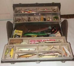 Vintage Kennedy Fishing Tackle Box 1117 Al Loaded Lures Spinners Rapala Pflueger