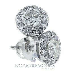 1.36 Carat H Si1 Diamond Halo Stud Earrings Micro Pave Set In 14k White Gold