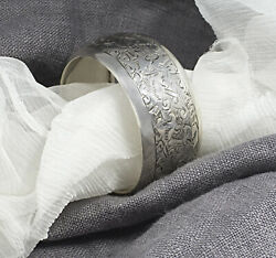 Antique Silver Napkin Ring Round Circular Sterling 925 Holder Vintage Clips Band