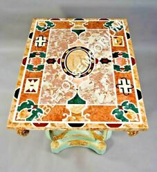 5'x4' Marvelous Marble Dining Outdoor Table Top Precious Inlay Design Gift E598A