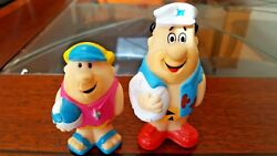Vintage Fred Flintstone And Barney Rubble Plastic Collectible Toys -beach -cute