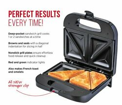 Chefman Sandwich Maker Grill w/ Non-Stick Plates Fits 2 Sandwiches - Black RJ01