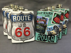 Set Of 6 Route 66 Highway D6 And 8 Flasks 8oz Stainless Steel Hip Drinking Whiskey