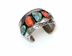 Roger Lewis American Indian Navajo Silver Coral Turquoise Cuff Bracelet