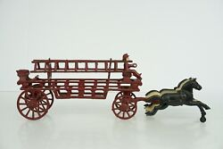 Vintage Large Cast Iron Horse Pulled Fire Truck W/ Figures Ladders B19