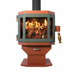 Catalyst Shimmering Rose Wood Stove with Sky Blue Door