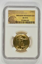 2009 1 oz Gold $20 Ultra High Relief St. Gaudens Double Eagle NGC MS70PL UHR