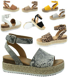 Soda Topic-s Womenand039s Fashion Ankle Strap Buckle Platform Espadrille Sandal Shoes