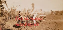 Ww2 Usa Original Photo Of Soldier In H D Motorcycle Collectible Picture