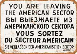 Metal Sign - 1962 Checkpoint Charlie Berlin Wall - Vintage Look Reproduction