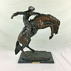 Frederic Remington - Wooly Chaps - Bronze Statue Marble Base Figure 23 H