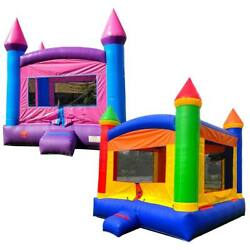 Pogo Kids Rainbow And Princess Pink Inflatable Bounce House Castles With 2 Blowers