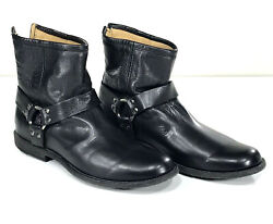 New Frye Mens Boots 10 Black Harness Rear Zip Motorcycle Leather Discontinued