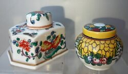Two Antique Inkwells Porcelain