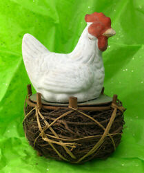 Vintage Easter Chicken On Nest Papier Mache Cardboard Candy Container Germany