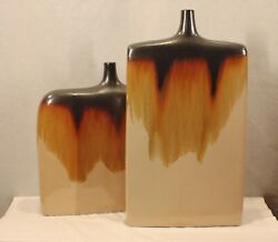 PAIR OF HUGE ART POTTERY CONTEMPORARY DRIP GLAZE DECORATOR CLAY VASES NEW