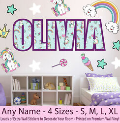 Childrens Kids Name Wall Stickers Art Decal Personalised Unicorn Girls Bedroom
