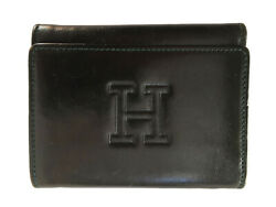 HIROFU Black Leather Tri-Fold Wallet Billfold Zip Change Compartment Italy-Made $95.00