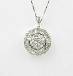 14 Kt White Gold Diamond Charm Pendant Necklace With Chain Great Gift New