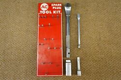Vintage 1950and039s Ac Spark Plug Remove Tool Kit And Holder Rack Delco