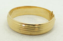 Wow Stunning 18K Yellow Gold Heavy Ribbed Hinge Bangle Bracelet A5575