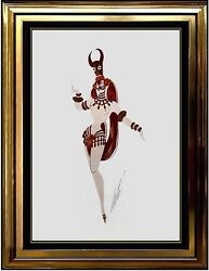 ERTE Original Gouache Painting Signed Costume Design Romain Tirtoff Deco Baker