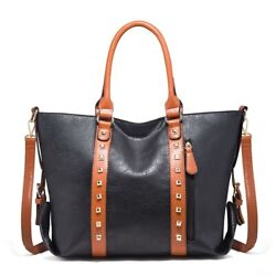Women Black Handbags Famous Messenger Paneled Rivet Hobos Mature Mom Tote Bags $49.75